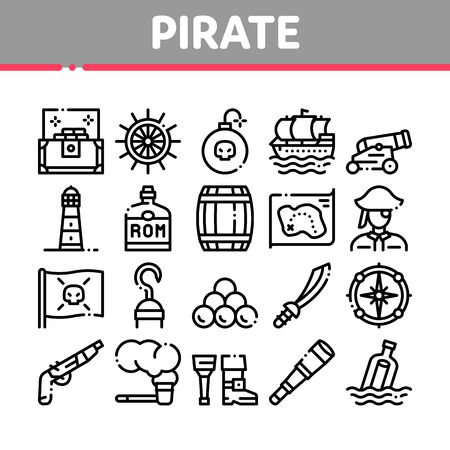 Pirate Sea Bandit Tool Collection Icons Set Vector Thin Line. Pirate Saber And Spyglass, Steering Rudder, Crossed Bones And Skull Flag Concept Linear Pictograms. Monochrome Contour Illustrations Illustration