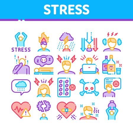 Stress And Depression Collection Icons Set Vector Thin Line. Anti Stress Pills And Alcoholic Drink Bottle, Angry Human And With Burning Head Concept Linear Pictograms. Color Contour Illustrations