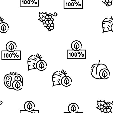Organic Eco Foods Seamless Pattern Vector Thin Line. Illustrations