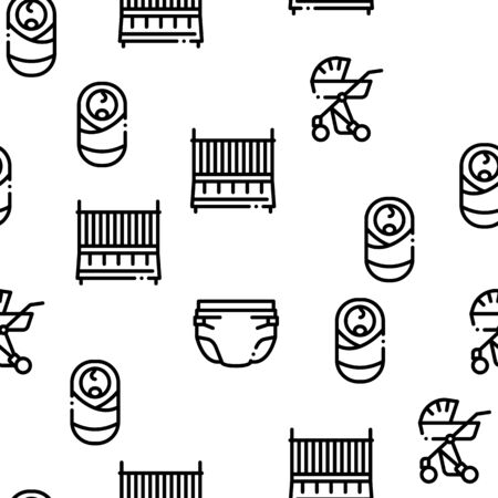 Baby Clothes And Tools Seamless Pattern Vector Thin Line. Illustrations