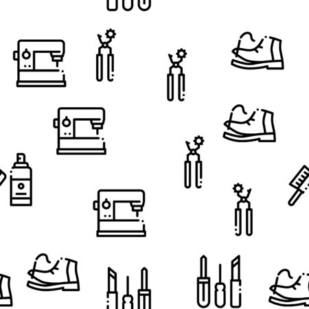 Shoe Repair Equipment Seamless Pattern Vector Thin Line. Illustrations Ilustracja