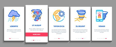 Tornado And Hurricane Onboarding Mobile App Page Screen Vector. Tornado Blowing House Roof, Cyclone On Planet Globe, Twister Weather Concept Linear Pictograms. Color Contour Illustrations