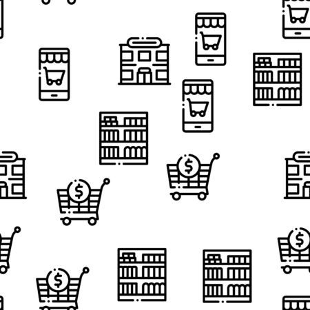 Grocery Shop Shopping Seamless Pattern Vector Thin Line. Illustrations