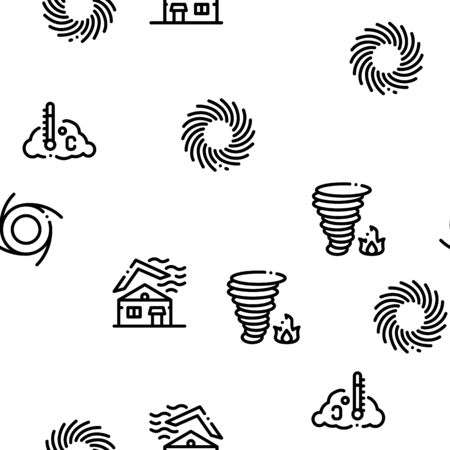Tornado And Hurricane Seamless Pattern Vector Thin Line. Illustrations