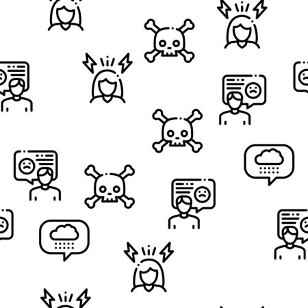 Swot Analysis Strategy Seamless Pattern Vector Thin Line. Illustrations