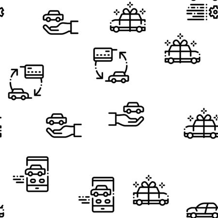 Car Dealership Shop Seamless Pattern Vector Thin Line. Illustrations