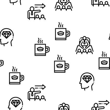 Boss Leader Company Seamless Pattern Vector Thin Line. Illustrations