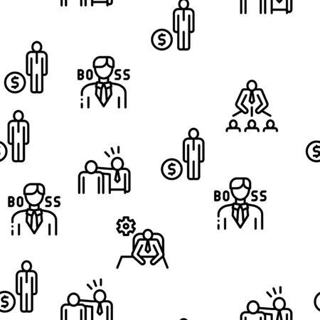 Boss Leader Company Seamless Pattern Vector Thin Line. Illustrations Stock fotó - 137883598