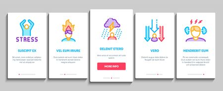 Stress And Depression Onboarding Mobile App Page Screen Vector. Anti Stress Pills And Alcoholic Drink Bottle, Angry Human And With Burning Head Concept Linear Pictograms. Color Contour Illustrations Illustration