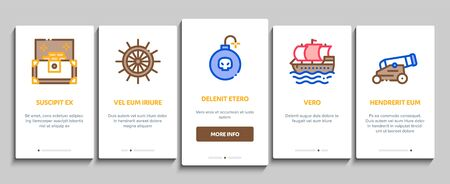 Pirate Sea Bandit Tool Onboarding Mobile App Page Screen Vector. Pirate Saber And Spyglass, Steering Rudder, Crossed Bones And Skull Flag Concept Linear Pictograms. Color Contour Illustrations Illustration