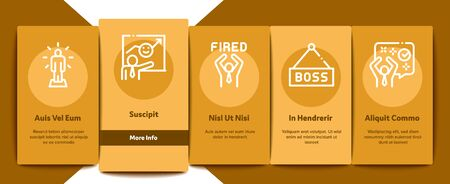Boss Leader Company Onboarding Mobile App Page Screen Vector. Boss On Tablet And Cup With Crown, Meeting And Presentation, Fired And Document Concept Linear Pictograms. Color Contour Illustrations