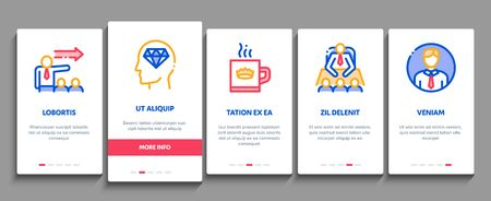 Boss Leader Company Onboarding Mobile App Page Screen Vector. Boss On Tablet And Cup With Crown, Meeting And Presentation, Fired And Document Concept Linear Pictograms. Color Contour Illustrations Stock fotó - 137883646