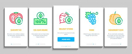 Organic Eco Foods Onboarding Mobile App Page Screen Vector. Organic Tomato And Mushrooms, Peach And Grape, Apple And Cherry Concept Linear Pictograms. Color Contour Illustrations
