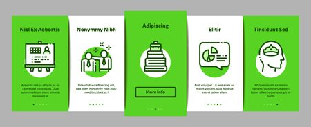 Mentor Relationship Onboarding Mobile App Page Screen Vector. Human Holding Key And Gear, Stopwatch And Mountain With Flag, Mentor Concept Linear Pictograms. Color Contour Illustrations