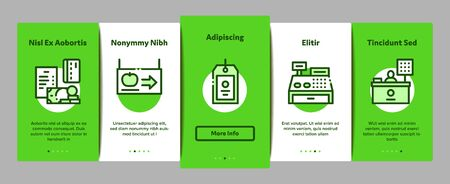 Grocery Shop Shopping Onboarding Mobile App Page Screen Vector. Internet Grocery Shop Or In Super Market, Scales And Cash Machine Concept Linear Pictograms. Color Contour Illustrations