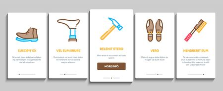 Shoe Repair Equipment Onboarding Mobile App Page Screen Vector. Shoes Repair Tools And Scissors, Sewing Machine And Hammer, Cream And Brush Concept Linear Pictograms. Color Contour Illustrations