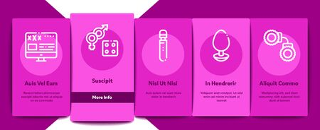 Intim Shop Sex Toys Onboarding Mobile App Page Screen Vector. Intim Shop Building And Internet Web Site, Collar And Handcuffs, Mask And Condom Concept Linear Pictograms. Color Contour Illustrations