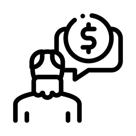 Elder Man Coin Icon Vector. Outline Elder Man Coin Sign. Isolated Contour Symbol Illustration