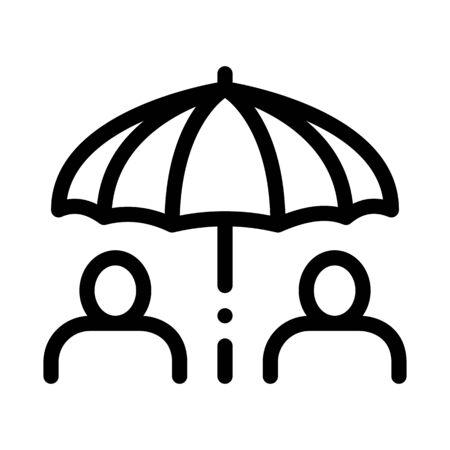 Human Umbrella Icon Vector. Outline Human Umbrella Sign. Isolated Contour Symbol Illustration