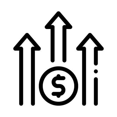 Grow Arrow Dollar Icon Vector. Outline Grow Arrow Dollar Sign. Isolated Contour Symbol Illustration