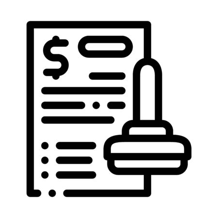 Stamp Document Icon Vector. Outline Stamp Document Sign. Isolated Contour Symbol Illustration 向量圖像