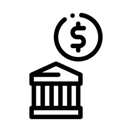 Building Coin Icon Vector. Outline Building Coin Sign. Isolated Contour Symbol Illustration