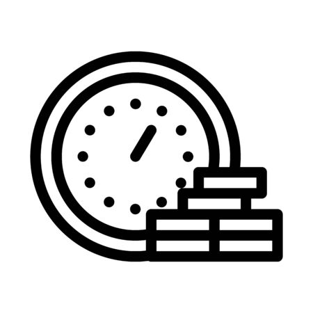 Watch Coin Heap Icon Vector. Outline Watch Coin Heap Sign. Isolated Contour Symbol Illustration