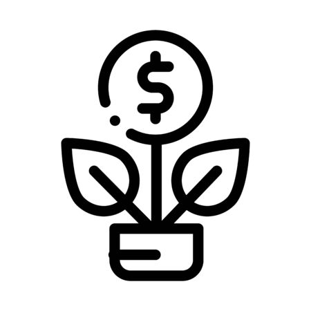 Plant Grow Coin Icon Vector. Outline Plant Grow Coin Sign. Isolated Contour Symbol Illustration