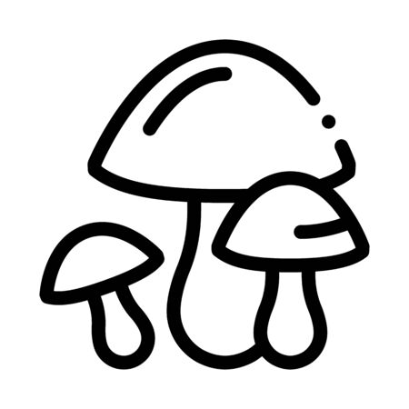 Mushrooms Icon Vector. Outline Mushrooms Sign. Isolated Contour Symbol Illustration