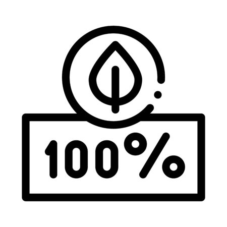 Hundred Percent Icon Vector. Outline Hundred Percent Sign. Isolated Contour Symbol Illustration Çizim