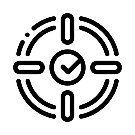 Target Check Mark Icon Vector. Outline Target Check Mark Sign. Isolated Contour Symbol Illustration