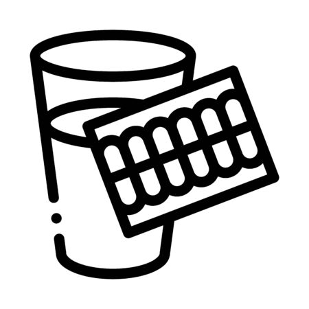 Pills Water Glass Icon Vector. Outline Pills Water Glass Sign. Isolated Contour Symbol Illustration Ilustração