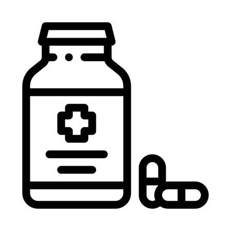 Pills Bottle Icon Vector. Outline Pills Bottle Sign. Isolated Contour Symbol Illustration