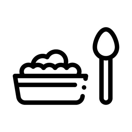 Food Plate Spoon Icon Vector. Outline Food Plate Spoon Sign. Isolated Contour Symbol Illustration