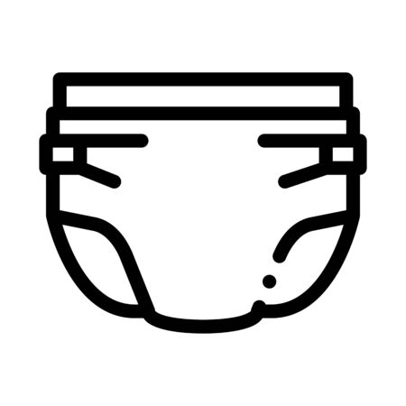 Baby Diaper Icon Vector. Outline Baby Diaper Sign. Isolated Contour Symbol Illustration