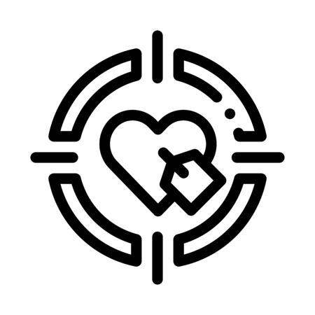 Heart Target Icon Vector. Outline Heart Target Sign. Isolated Contour Symbol Illustration