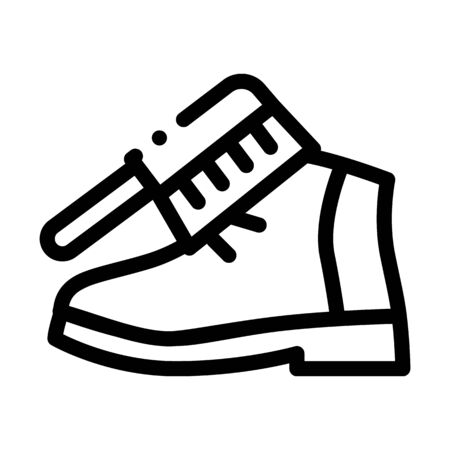 Shoe Brushing Icon Vector. Outline Shoe Brushing Sign. Isolated Contour Symbol Illustration