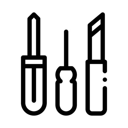 Shoe Repair Tools Icon Vector. Outline Shoe Repair Tools Sign. Isolated Contour Symbol Illustration