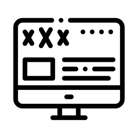 Porn Web Site Icon Vector. Outline Porn Web Site Sign. Isolated Contour Symbol Illustration