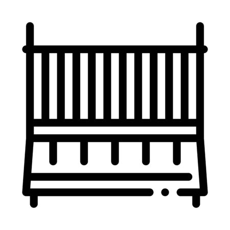 Cot Baby Bed Icon Vector. Outline Cot Baby Bed Sign. Isolated Contour Symbol Illustration Ilustrace