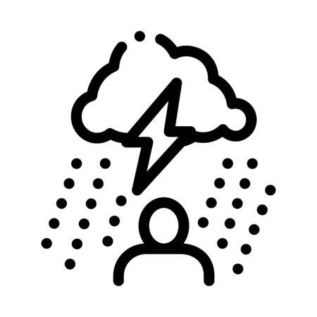 Rainy Cloud Man Icon Vector. Outline Rainy Cloud Man Sign. Isolated Contour Symbol Illustration Foto de archivo - 138189650