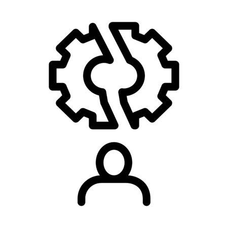Broken Gear Man Icon Vector. Outline Broken Gear Man Sign. Isolated Contour Symbol Illustration Foto de archivo - 138189698