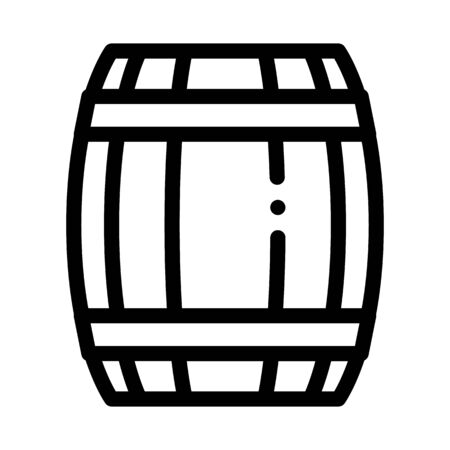 Wooden Barrel Icon Vector. Outline Wooden Barrel Sign. Isolated Contour Symbol Illustration