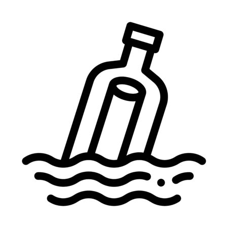 Message In Bottle Icon Vector. Outline Message In Bottle Sign. Isolated Contour Symbol Illustration