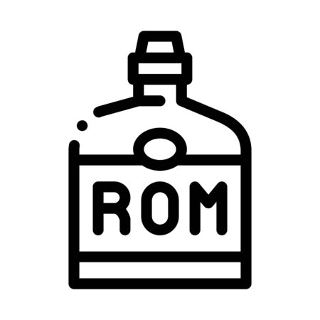 Rum Drink Bottle Icon Vector. Outline Rum Drink Bottle Sign. Isolated Contour Symbol Illustration