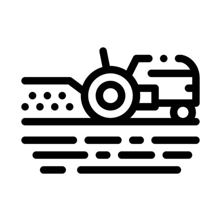 Tractor On Field Icon Vector. Outline Tractor On Field Sign. Isolated Contour Symbol Illustration Çizim