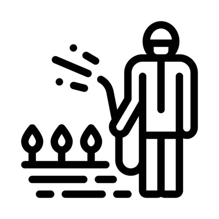 Watering Plant Icon Vector. Outline Watering Plant Sign. Isolated Contour Symbol Illustration