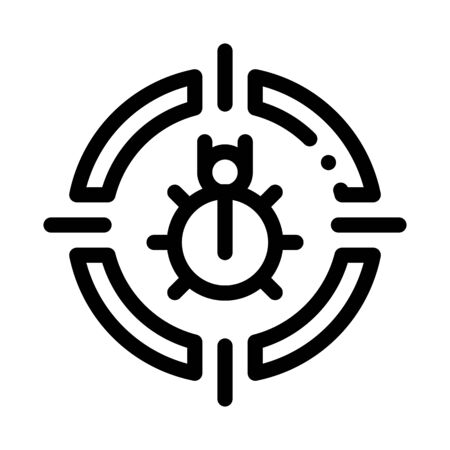 Bug Target Icon Vector. Outline Bug Target Sign. Isolated Contour Symbol Illustration