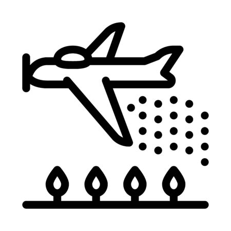 Plane Spraying Icon Vector. Outline Plane Spraying Sign. Isolated Contour Symbol Illustration