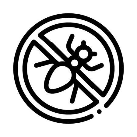 Crossed Mosquito Icon Vector. Outline Crossed Mosquito Sign. Isolated Contour Symbol Illustration Çizim